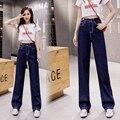 Женские джинсы, новинка 2021, элегантные свободные прямые брюки в Корейском стиле, облегающие универсальные брюки с завышенной талией и широк...