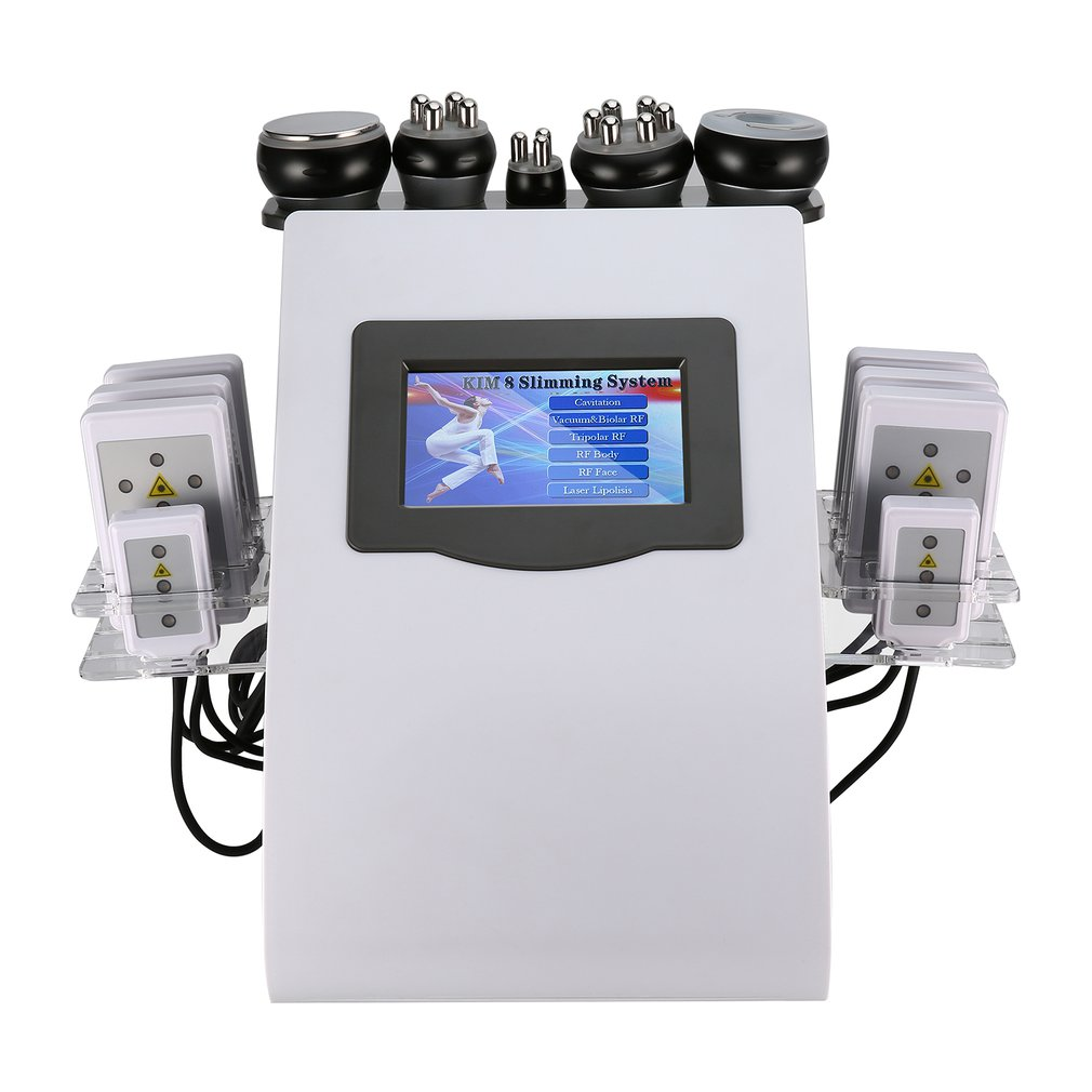 6 In1 Ultrasonic Liposuction 40K Cavitation Vacuum Multipolar Bipolor RF Laser Slimming Radio Frequency SKIN BODY SALON MACHINE