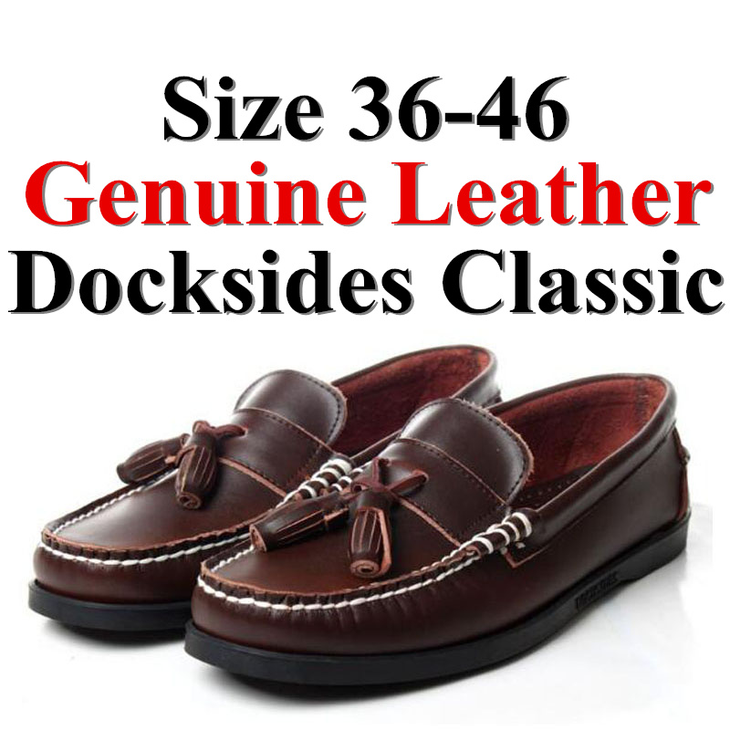 Men Women Genuine Leather Docksides Classic Boat Shoes,Man Homme Femme Dark Brown Plus Size 36-46 Brand Flats Loafers 2019A092