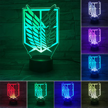 Attack on Titan 3D Lamp Anime Figure 7 Color Changing Night Light Room Decoration Model