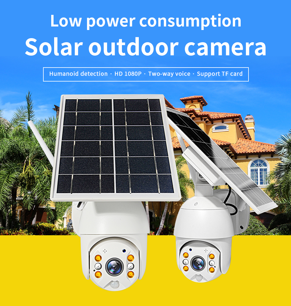 4G Wifi Dual Audio Voice Intrusion Alarm Battery Powered Cameras1080P HD Solar Panel Outdoor Monitoring Waterproof CCTV Camera