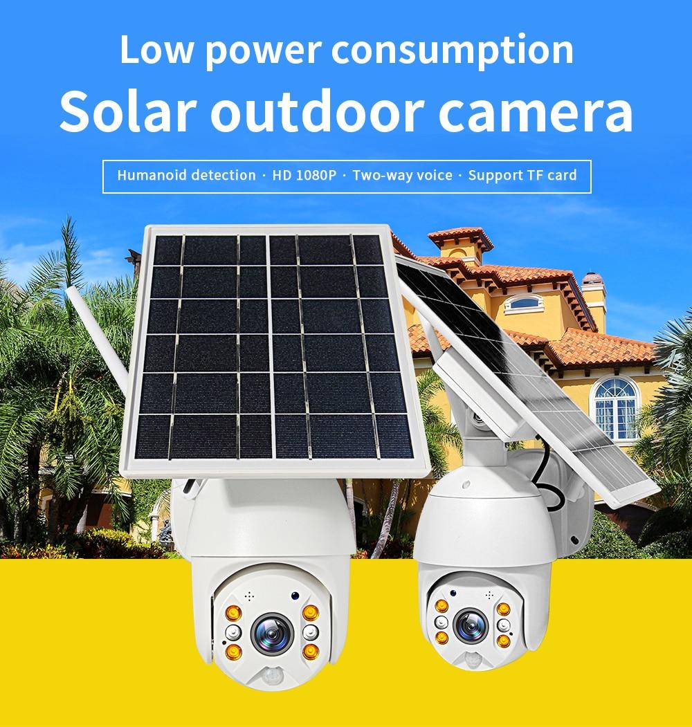4G Wifi Dual Audio Voice Intrusion Alarm Battery Powered Cameras1080P HD Solar Panel Outdoor Monitoring Waterproof CCTV Camera