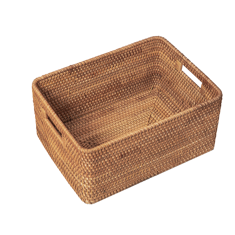 Rectangular Rattan Storage Baskets Hand-knitted Boxes Put Cabinet Rattan Frame Vietnamese Boutique Real Rattan Basket