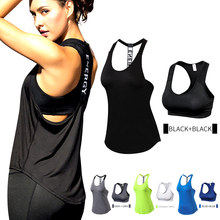Quality 15% spandex Fitness Sports Yoga Shirt Quickly Dry Sleeveless Running Vest Workout Crop Top Female T-shirt