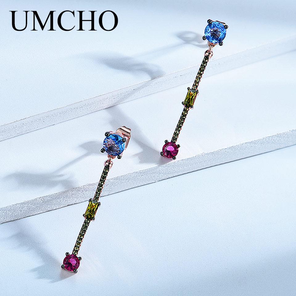 UMCHO Created Nano Blue Citrine Ruby Long Earrings 925 Sterling Silver Drop Earrings For Women Lover Anniversary Romatic Gift