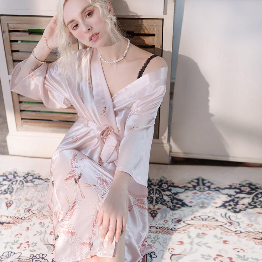 Халаты для женщин искусственный шелк пол сексуальная ночная