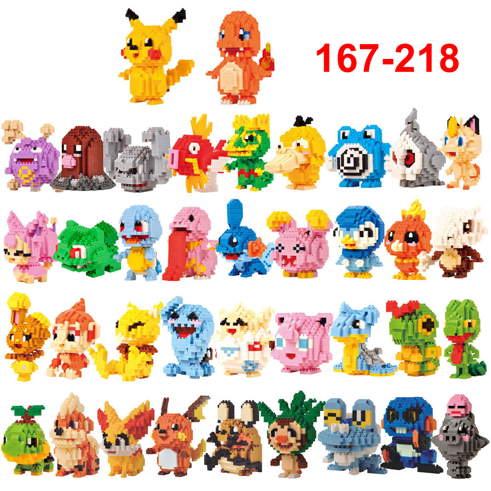 Mini Building Blocks Cartoon Pikachue Animals Moddel Educational Games Figures Bricks Toys For Children