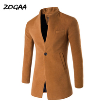 ZOGAA Spring Autumn Long Jackets & Coats Single Breasted Casual Mens Wool