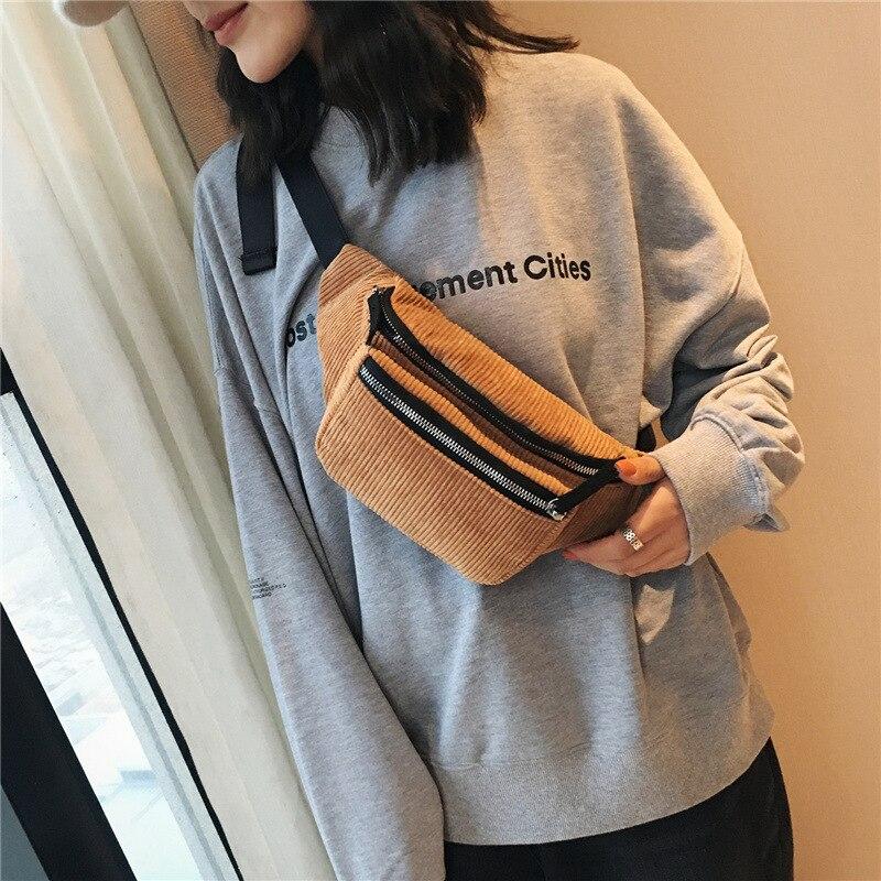 Fashion Women Corduroy Fanny Pack Women Waist Bag Belt Money Travel Sport Bum Bag Ladies Designer Canvas Belt Pouch Holiday