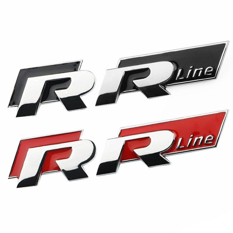 Car Styling R-LINE R Car Front Grill Body Decoration3D Metal Sticker Emblem Accessories For VW Polo Golf 5 7 Passat B5 B6