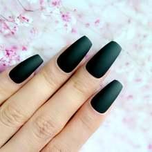 Матовая черная балерина гроб фальшивые ногти длинные искусственные