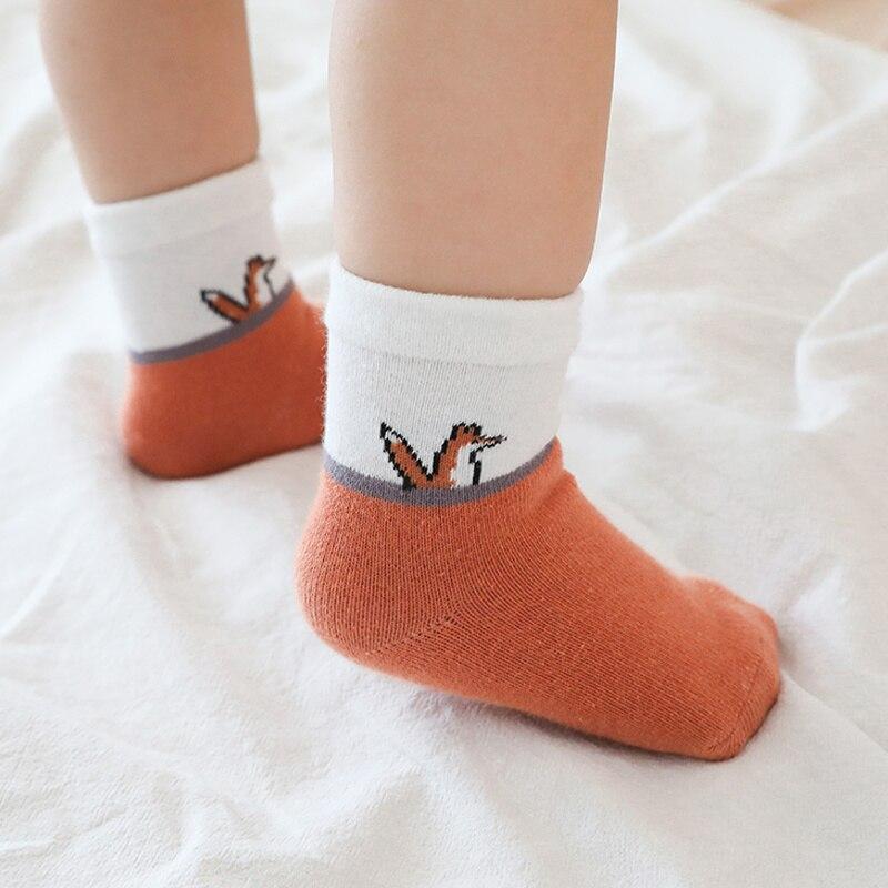 5 pairs baby socks cartoon mid-tube children socks cotton boys girls baby socks warm socks newborn socks