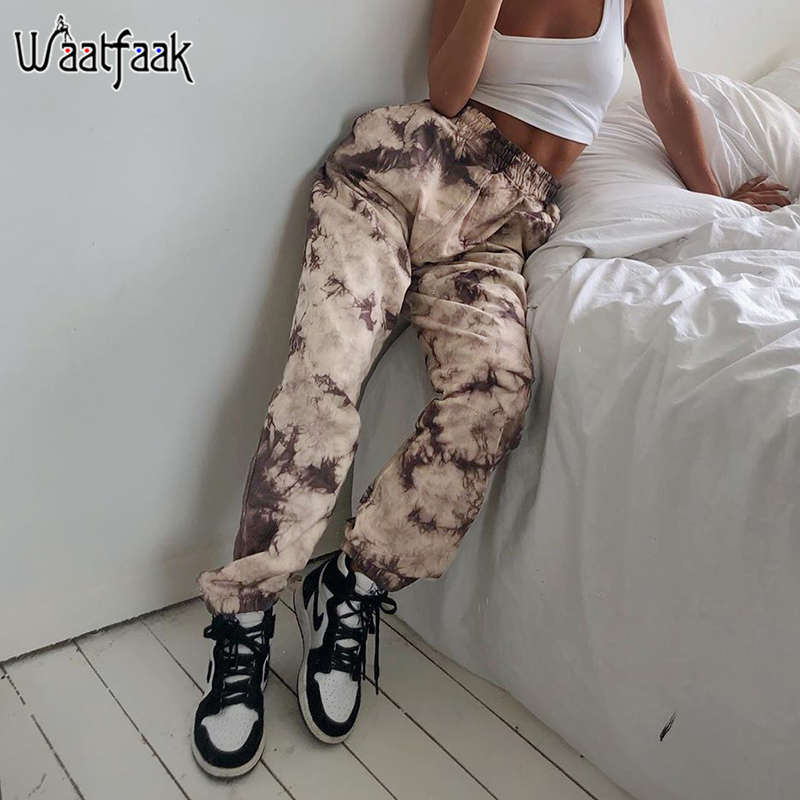 Waatfaak Hippie Track Pants Camouflage Ladies Loose Baggy Jogger Sweatpants Tie Dye Harajuku Capri Pants Women Y2K Casual Autumn