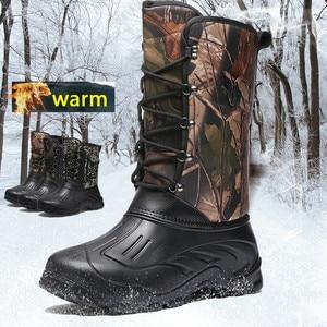 Image 2 - Fishing Boots Men Outdoor Camping Shoes Waterproof Hunting Boots Hiking Men Tactics Climbing Non Slip Thermal Shoes Men Fishing