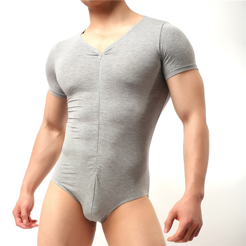 Helisopus Men Slim Body Bodybuilding Undershirts Corset Modal Bodysuit One Piece Sheer Underwear Romper