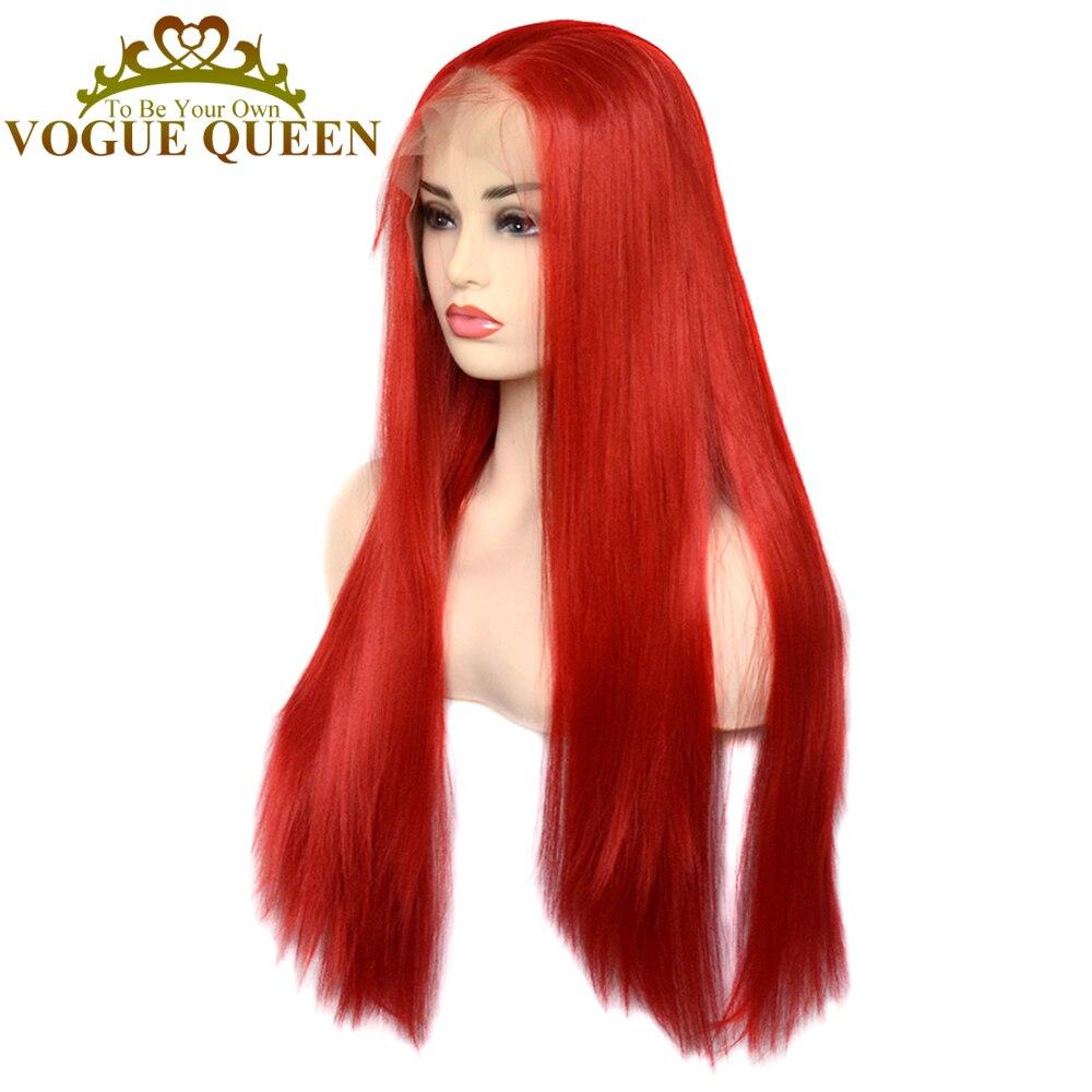 Парик Vogue Queen 13 × 6 Женский, длинный шелковистый, прямой, термостойкий, с синтетическим кружевом спереди, оранжевого, красного цветов
