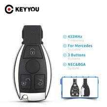 KEYYOU Smart Auto Schlüssel Für Benz Remote Key Für Mercedes Benz Jahr 2000 + Unterstützt Original NEC und BGA 315MHz Oder 433MHz 2/3 Tasten