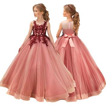 Girls Wedding Kids Dresses For Girl Party Dress Lace Princess Summer Teenage Children Princess Bridesmaid Dress 8 10 12 14 Years 2017new china traditional red color girls children princess dress embroidery lace wedding birthday party ceremony dress for kids