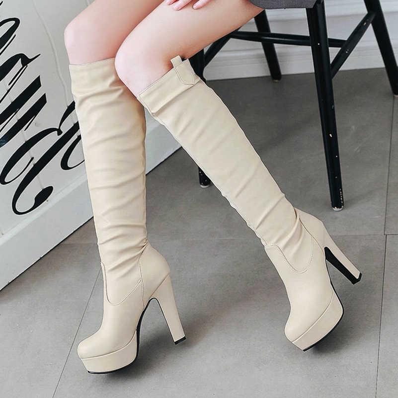 Meotina çizmeler kadın kış diz yüksek çizmeler platformu yüksek topuk uzun çizmeler büyük boy 44 45 yuvarlak ayak seksi ayakkabılar şişeler femme siyah