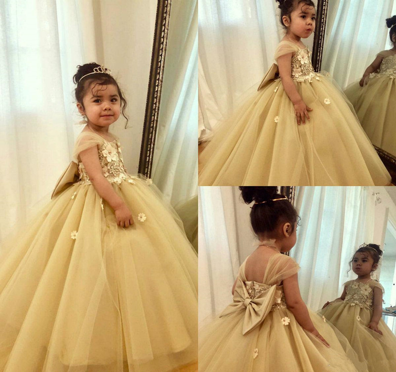 Lovely   Girls   Birthday Party Gowns with 3D Floral Appliques Beading Big Bow Back Customized   Flower     Girl     Dress   Fr Special Occasion