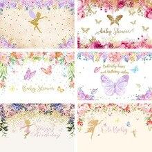 Mehofond photographie arrière plan fête danniversaire papillon bébé filles fée princesse Rose Rose fleur or toile de fond Photo Studio