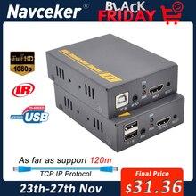 2020 Navceker HDMI KVM Extender Over IPสนับสนุนIR Network KVM Extender USB HDMI 150Mผ่านUTP/STP RJ45 KVM Extender CAT5 CAT6