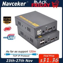 2020 Navceker HDMI KVM genişletici IP desteği üzerinden IR ağ KVM genişletici USB HDMI 150M UTP/STP RJ45 KVM genişletici CAT5 CAT6