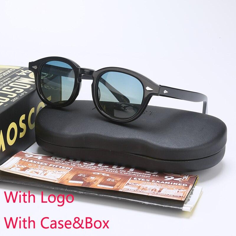 Джонни Деппом LEMTOSH поляризованных солнцезащитных очков Для мужчин UV400 Ретро оправа из ацетата солнце очки Брендовая дизайнерская обувь для ...