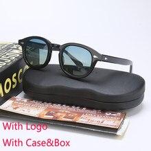 Johnny depp lemtosh polarizado óculos de sol dos homens uv400 acetato retro quadro óculos de sol marca designer para masculino