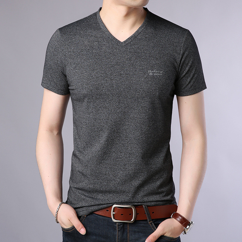 New round neck casual short sleeve thick solid color