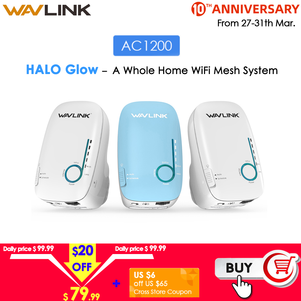 Wavlink AC1200 2.4G 5G Gigabit WiFi Router Dual-Band Whole Home Mesh Router WiFi Repeater Wifi Booster Long Range Wifi Extender
