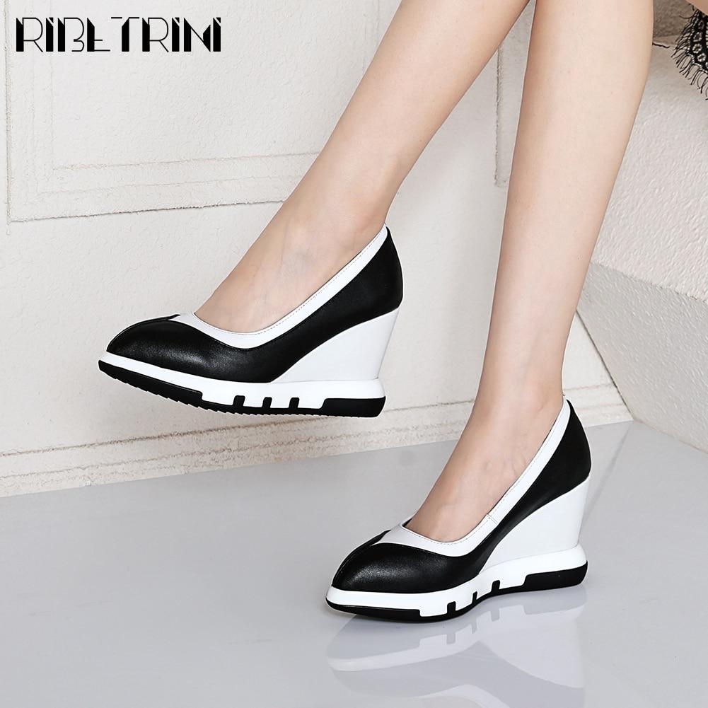 RIBETRINI New Ladies Elegant High Wedges Shoes Woman Office Concise mixed-color Pumps Women Genuine Leather Platform Pumps