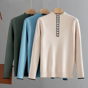 GIGOGOU Button Women Sweater Thick Autmn Winter Warm Turtleneck Pullover Jumper Female Stretchy Knitted Ribbed Sweater Top