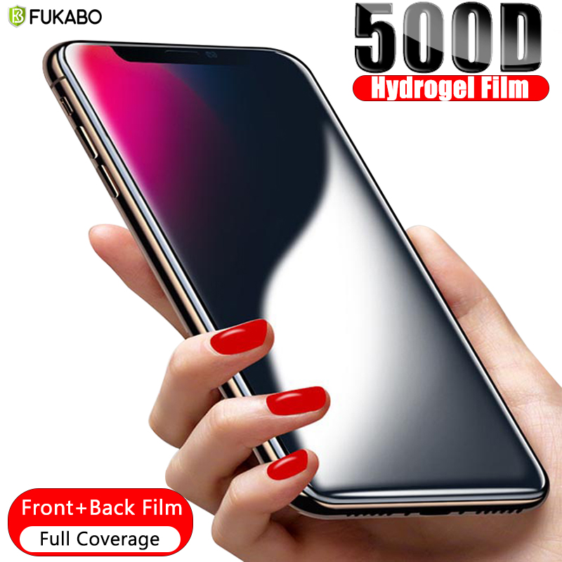 B 500D Front+Back Full Cover Hydrogel Film For iPhone 11 Pro Max 7 8 6 6s Plus Screen Protector For iPhone XS Max X XR Not Glass