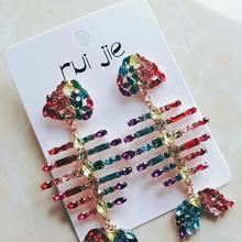 New Boho Crystal Glass Fish Bird Dangle Earrings Women 2019 Statement Drop Luxury Jewelry Gift Party Wedding Wholesale