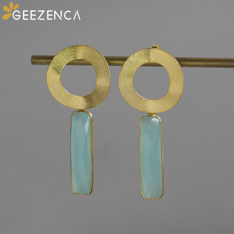 925 Sterling Silver Stud Earrings Golden Geometric Gemstones Personality Trendy Earring Fine Jewelry For Women Original Design