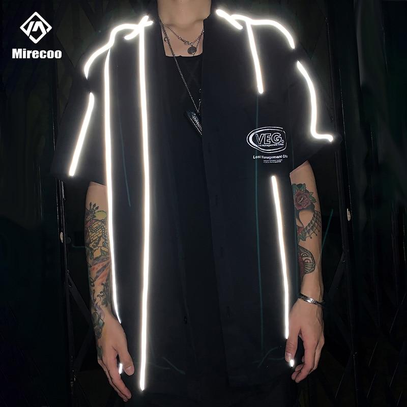 Hipster Striped Reflective Mens Shirt Pocket Beach Shirts Men Harajuku Punk Rock Hip Hop Mens Shirt Streetwear Tops 2020 Clothes