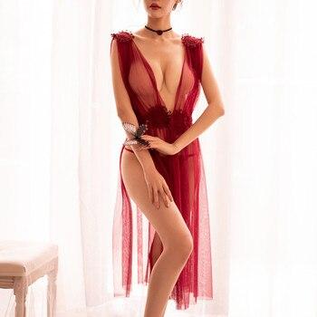 Las mujeres de encaje Lencería de malla Sexy ver a través de lencería G Cadena de ropa de dormir de verano camisones largos Camisola camisón