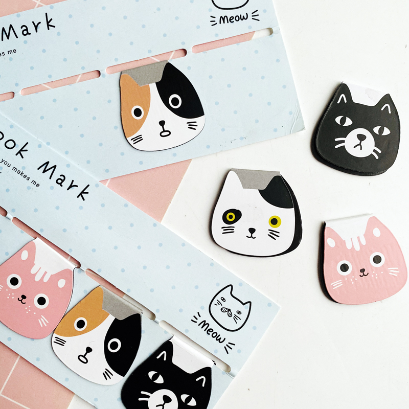 4pcs/Set Meow Cat Magnetic Bookmarks Books Marker Of Page Stationery
