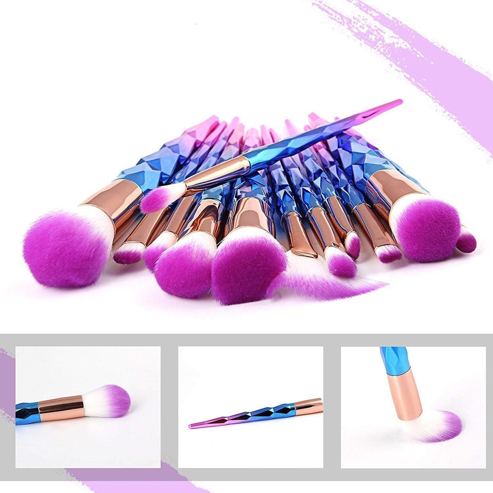 12Pcs <font><b>Mermaid</b></font> Color Diamond <font><b>Makeup</b></font> <font><b>Brushes</b></font> Set <font><b>with</b></font> <font><b>Bag</b></font> Powder Foundation Eye Shadow Blush Blending Cosmetics Beauty <font><b>Brush</b></font> Kits image