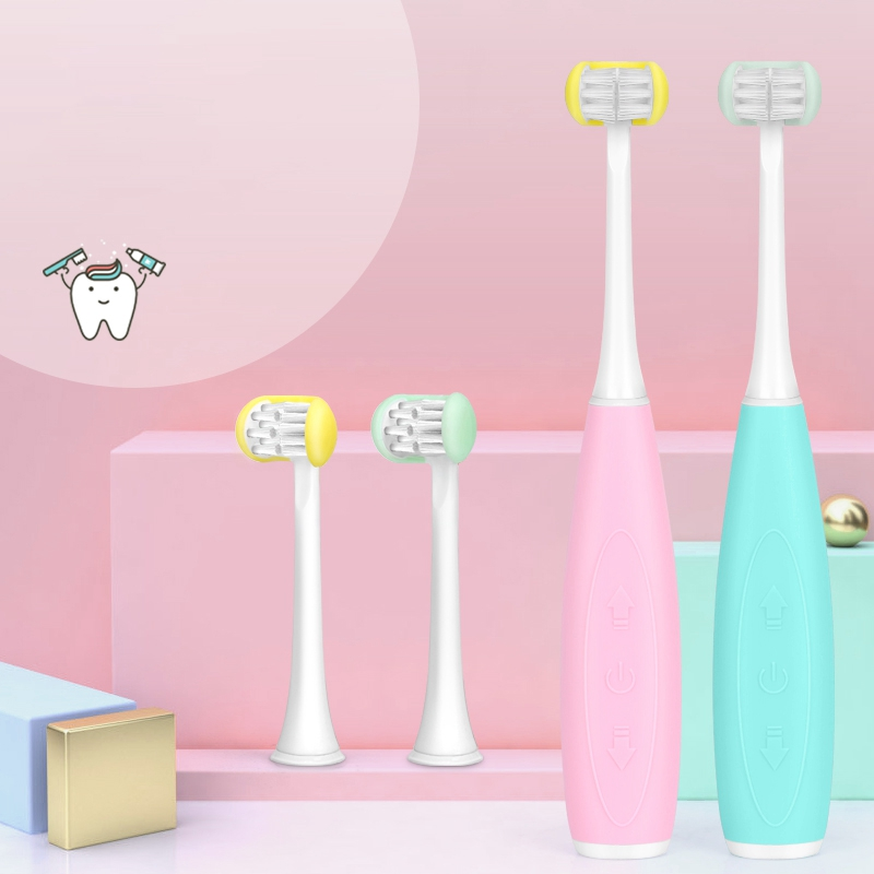 Children's Electric Toothbrush, 3 Sides All Inclusive 5 Modes 2 USB Rechargeable Portable Electric Toothbrush