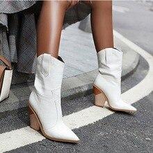 Vertvie/ковбойские ботинки в ковбойском стиле; женские ботинки до середины икры; зимние ботинки из искусственной кожи на танкетке; короткие ковбойские ботинки с острым носком; женская обувь