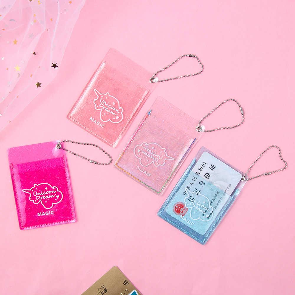 ใหม่ 1 PC ผู้หญิง Glitter PVC การ์ดการ์ดเกาหลี MINI บัตรเครดิตธนาคารเหรียญกระเป๋าสตางค์หญิงพวงกุญแจรถบัสการ์ดชุด