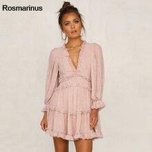 Floral Boho Beach Dress For Women Holidays 2019 Fashion Summer V Neck Long Sleeve Ruffles Short Mini Dress Sweet Party Dresses