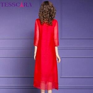 Image 5 - TESSCARA vestido de gasa suave para mujer, elegante vestido de fiesta de gasa suave para mujer, vestido de cóctel Vintage con lentejuelas