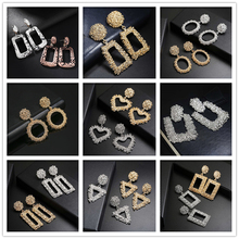 New Fashion Statement Retro Earrings Gold Silver Square Geometric Pendant Female Pendientes Jewelry Girl Gift