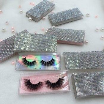High Quality  8 pairs Hot Style Mink Eyelash With Colorful Rhinestone lash box  Mink lash