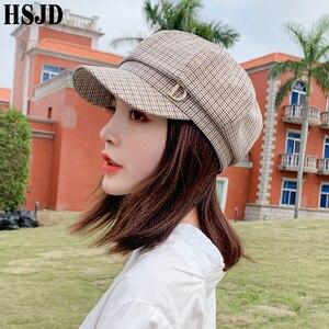 Image 1 - 格子縞の八角フラットキャップファッションラインストーンレターd女性の夏春格子画家帽子女性のレトロなベレーボンネット