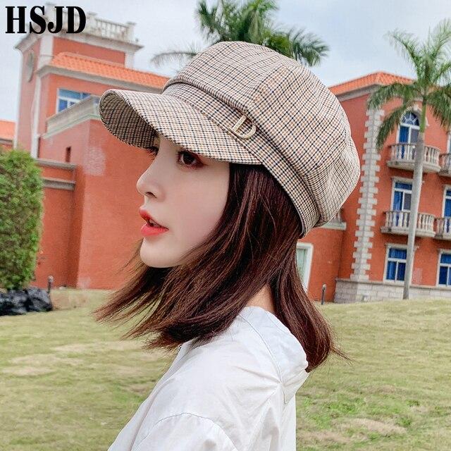 格子縞の八角フラットキャップファッションラインストーンレターd女性の夏春格子画家帽子女性のレトロなベレーボンネット