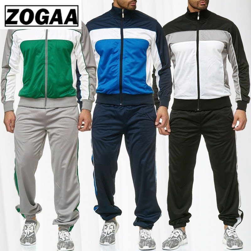 ZOGAA Spring Autumn Sweatsuit Men's Casual Stitching Color Sweatshirt+Pants Tracksuit Mens Fitness Patchwork Classic Sports Suit